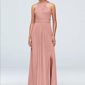 David's Bridal HighNeck Bridesmaid Dress